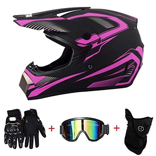 AKBOY Motocross Helmet Adult, Cascos de Moto Integrales Off-Road Motorcycle Helmet Kit Rosa Casco Integral Unisex MTB Downhill ATV con Gafas Guantes Máscara para jóvenes Adultos Hombres Mujeres,S