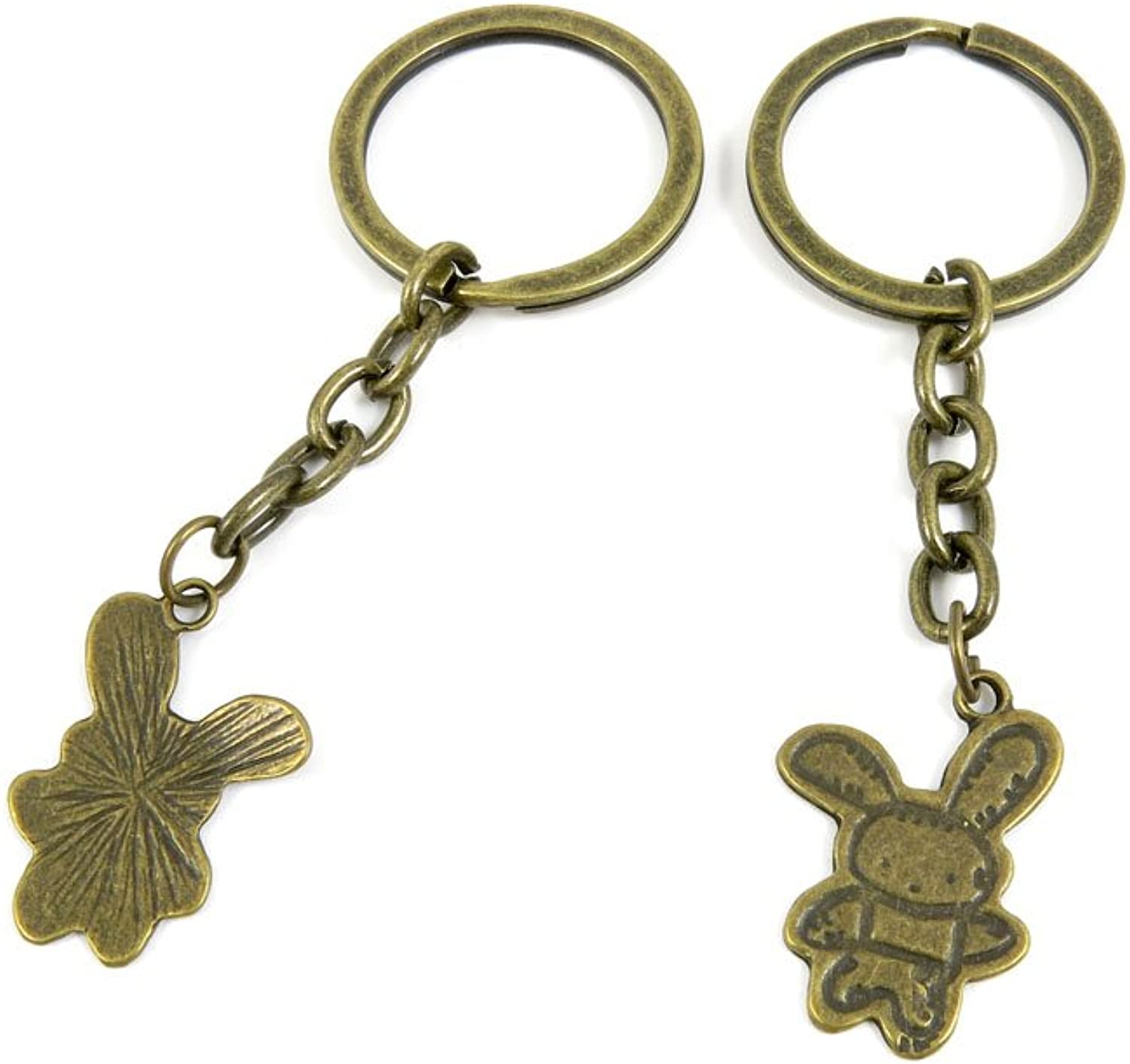 100 PCS Keyrings Keychains Key Ring Chains Tags Jewelry Findings Clasps Buckles Supplies Z6FT4 Rabbit Signs
