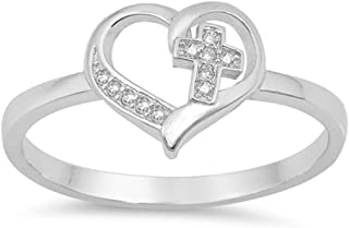 Oxford Diamond Co Sterling Silver Simple Cross Heart CZ Promise Purity Ring Sizes 4-10