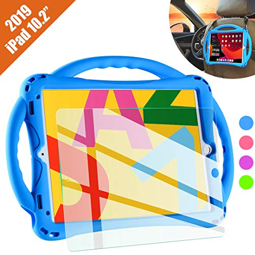 TopEsct iPad 7th Generation Case for Kids,with Tempered Glass Screen Protector and Strap,Premium Silicone Shockproof Apple New ipad 10.2 2019 Case Cover with Kickstand and Pencil Holder. (Blue)