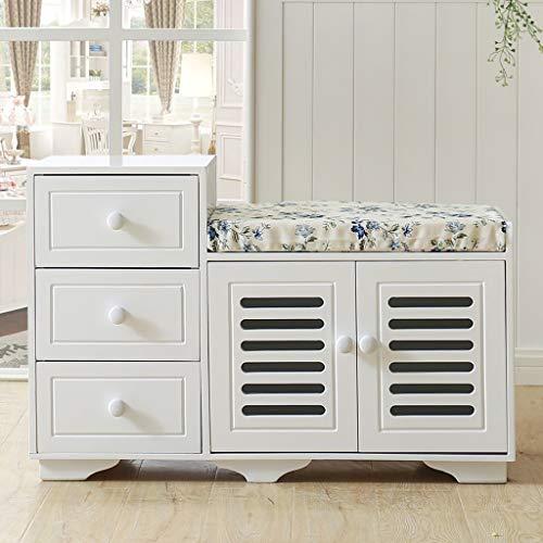 Weiß Holz Double Layer Schuhregal Regal mit 2 Türen und 3 Schubladen, Mehrzweck-Schuhregal mit abnehmbarem Kissen, Ottomans Bank Fußstütze Hocker für Flur