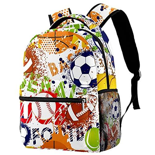 Mochila Impermeable Béisbol, fútbol, Voleibol Mochila Infantil Impermeable Bolsa para la Escuela Impresión Creativa Mochila de Viaje para Niños y Niñas 25.4x10x30 CM