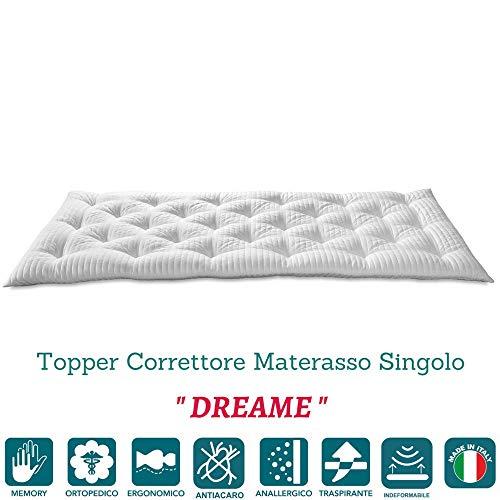 EvergreenWeb – Concealer matras van visco-elastisch schuim Med 90 x 200 H 7, topper bed, futon, vulling vlokken, geheugeneffect, veer, rolbaar, hypoallergeen voering, anti-mijt, wit dream