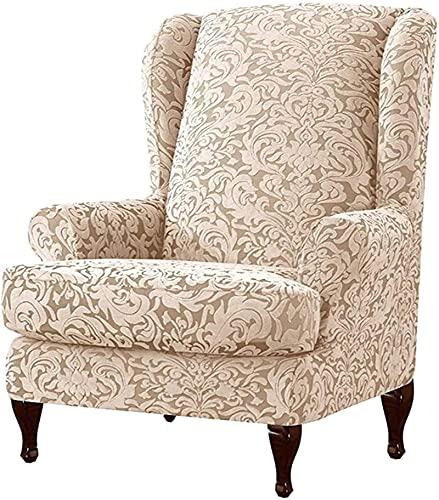 Sillones cubiertas stretch wingback funda funda silla de ala silla de la silla de 2 piezas, jacquard sillón Sofá cubiertas ala reclinable silla silla funda protectora de muebles duradera lavable