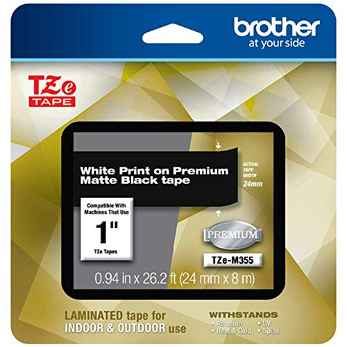 """Brother P-touch TZe-M355 White Print on Premium Matte Black Laminated Tape 24mm (0.94"""") wide x 8m (26.2') long"""