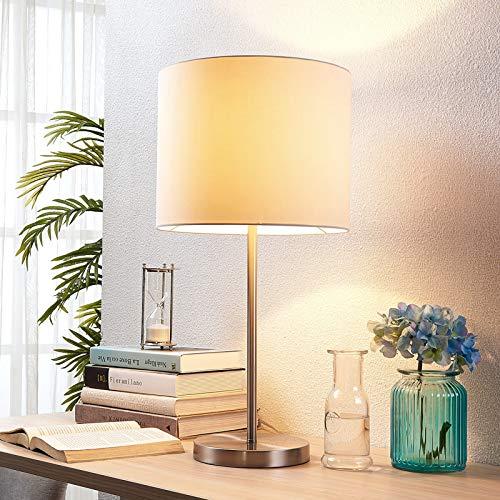 Lindby Tischlampe 'Parsa' (Für Kinder, Junges Wohnen) in Weiß aus Textil u.a. für Schlafzimmer (1 flammig, E27, A++) - Tischleuchte, Schreibtischlampe, Nachttischlampe, Schlafzimmerleuchte
