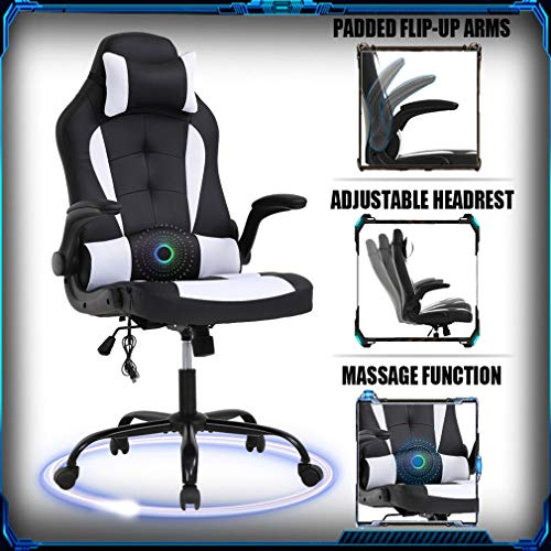 PC Gaming Chair Ergonomic Racing Heavy Duty Office Chair Video Game Chair, Massage Function Lumbar Support with Flip Up Arms & Headrest Nice Chic Desk Chair, Adjustable Best Home Office Chair - White