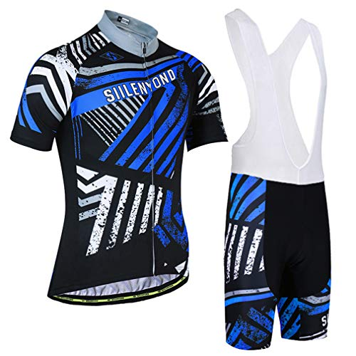 LBYSK Juego De Ropa De Bicicleta para Hombres, Camisetas De Ciclismo Camisas De Bicicleta Camisas Kit + Pantalones Cortos De Babero, Secado Rápido con Cremallera Completa Ropa De Montar,Azul,XL