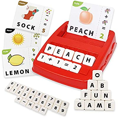 XUNPAS 2 in 1 Matching Letter Game Learning Educational Toys for Preschool Kindergarten 3 4 5 6 Year Olds Boys and Girls… (Red) from XUNPAS