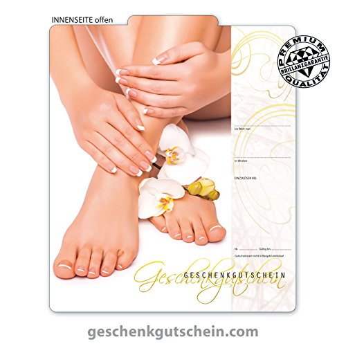 10 Stk. Premium Geschenkgutscheine Gutscheine zum Falten mit hochglänzender Aussenseite für Fußpflege, Pediküre, Nagelstudio FU223 pos-hauer