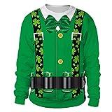 Cuteelf Herren St. Patrick's Pullover, Männer Frau Mode Druck St. Patrick's Day Grün Klee...