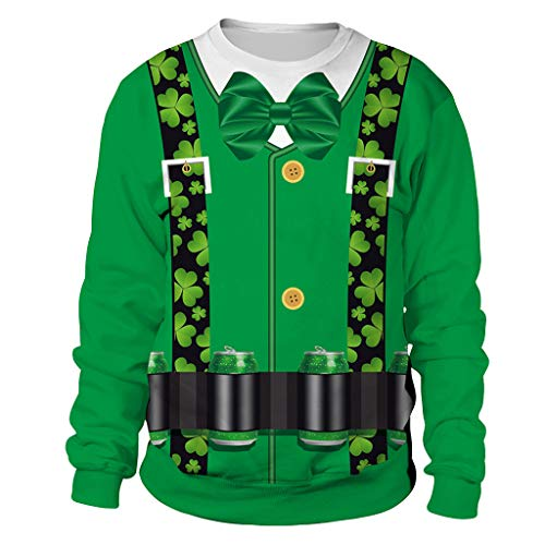 Cuteelf Herren St. Patrick's Pullover, Männer Frau Mode Druck St. Patrick's Day Grün Klee Sweatshirt Party Fancy Dress Tops Anzug Abendkleid Druck Langarm Oansatz Tops Irland Shirt