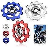 XAVSWDE 3 uds Roldanas de Cambio Trasero 11 Dientes Ruedas de Cambio MTB Roldanas de Aleación de Aluminio Roldanas de Tensión con Agujeros Roldanas para Bicicletas de Montaña(Azul, Rojo y Plateado)