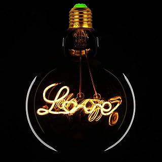 Bombillas LED Bombilla Edison Vintage Big Globe G125 Alfabeto Filamento Amor Hogar Hola 4W220 / 240V E27 240Lúmenes 2000K Bombilla decorativa cálida súper amarilla (Love)