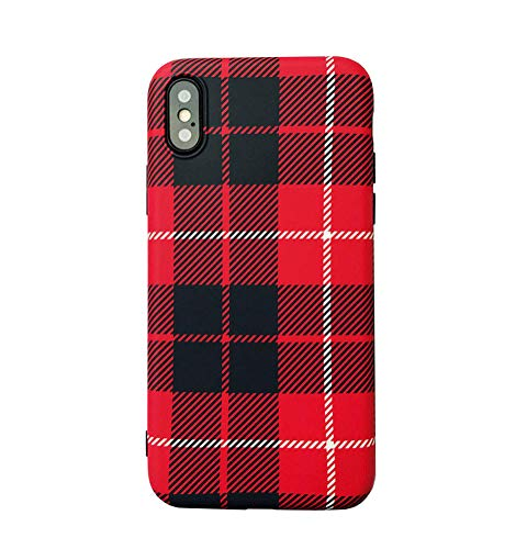 iPhone X Case, iPhone Xs Case, Ebetterr Plaid Protective Cover Shell, Matte Slim Fit Anti Scratch Shockproof Soft TPU Bumper Flexible Rubber Gel Silicone Case for iPhone Xs 5.8 inch 2018 Release
