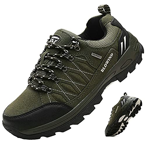 Blowind Men's Waterproof Hiking Shoes Sandproof Hiking Boots Outdoor Shoes Men Non Slip Work Shoes Work Boots para Hombres Walking Shoes with Arch Support for Men 574 Olive Green 9