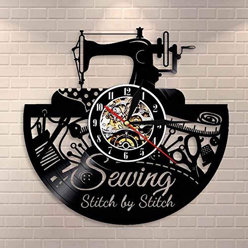 Citas de Costura Puntada a Puntada, Arte de Pared, Vinilo, Reloj de Pared, máquina de Coser, decoración de Pared de Moda, Reloj de Pared Acolchado Vintage