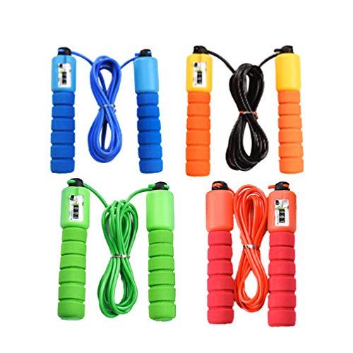 LIOOBO 4 Stücke Elektrische Zählen Springseil Fitness Springseil Überspringen Springseil für Jugendliche Kinder Kinder Gym Übung Sport Training-Grün + Rot + Blau + Orange