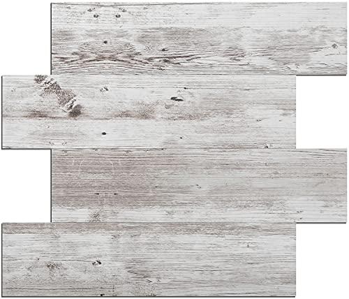 DICOFUN White Brown Wood Peel and Stick Backsplash Subway Tile for Kitchen, 10 Sheets Vintage Self-Adhesive Wall Panels (PVC Composite)