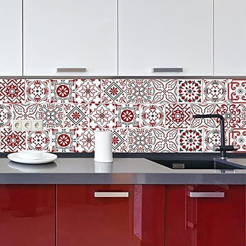   Carrelage Mural Autocollant   Planche de 12 Stickers Autocollants Adhesifs Carrelage - Carreaux de Ciment - Bisknight - Dimensions d'un Sticker : 10 x 10 cm - Salle de Bains Cuisine Meubles