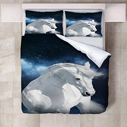IXGMI Blue Starry Sky White Horse Bedding, Duvet Cover Set Double - 3pcs Bedding Set with Zipper Closure, Ultra Soft Microfiber 3D Digital Print Quilt Cover Set 200x200cm