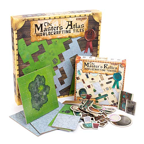 Dungeoncrafter Essentials: RPG Dungeon Master Starter Kit - 44 Reversible Map Tiles - 200+ Reversible Dungeon Item Token Objects - Tabletop Fantasy Game Beginner Accessories