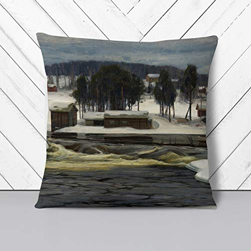 Big Box Art Cushion and Cover - Victor Westerholm Winter Landscape 2 - Single Square Throw Pillow - Soft Faux Suede Material - Charcoal Rear - 40x40 cm