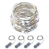 ITART Micro LED String Lights Battery Powered Set of 4 Cool White Mini Fairy Light 20 LED 6 Ft Ultra Thin Silver Wire Rope Lights for Christmas Trees Wedding Parties Bedroom