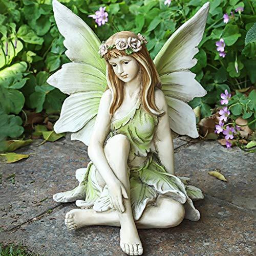 Ornamentos, figura de jardín para exteriores, jardín de hadas, figuras de resina artesanal, paisajismo, patio, decoración, estatua de hada (B)