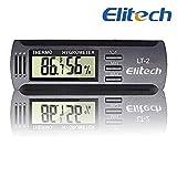 Elitech LT-2 Mini Portatil Medidor Temperatura Humedad,LCD Monitor Termómetro Higrómetro Digital para Nevera,Suelo,Cigarro,Humidor,Invernadero