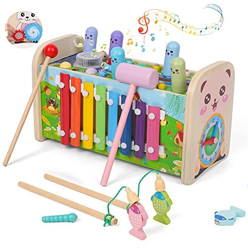 Rabing Banco de madera para golpear, 8 en 1 juguetes de martilleo y golpear con xilófono, juguete musical de madera con reproductor de música, juegos de rompecabezas de educación temprana para niños