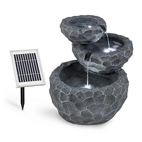 blumfeldt Murach - Fontaine Solaire en Cascade, Fontaine de Jardin, éclairage LED, Panneau Solaire 2kW, Patterie 2000mAh, en polyrésine résistante au Gel