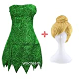 CHANGL Fee Cosplay Kostüm Basteln Glocke Grün Kleid Tinkerbell Halloween Party Sexy Cosplay...