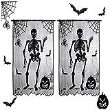 Cortinas de Halloween, 2 piezas de murciélagos esqueléticos tela de araña, paneles de puerta, cubierta, cortina de ventana de encaje negro de Halloween, decoración festiva para fiestas, 213x102cm
