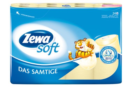 """Zewa Soft Toilettenpapier \""""Das Samtige\"""" gelb, 1er Pack (1 x 24 Rollen)"""
