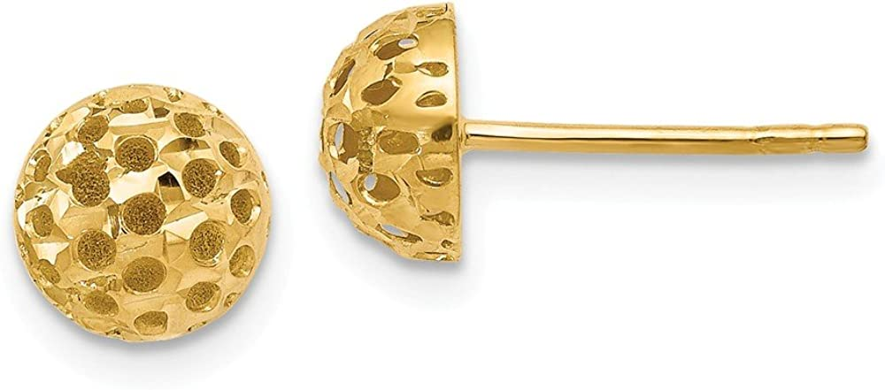 Black Bow Jewelry 7mm Polished Cutout Half Ball Post Earrings in 14k Yellow Gold