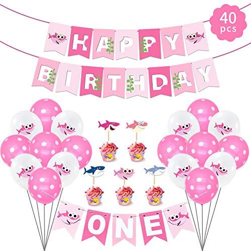 Feliz cumpleaños decoraciones, Kits de suministros para fiestas de tiburones con pancarta de feliz cumpleaños, 20 primeros de la torta, 18 globos de cumpleaños, 1 UNA letra Estandarte para Niños Niña