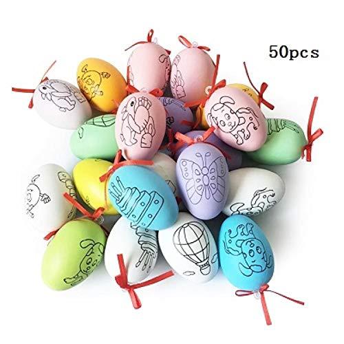 ZXFMT Niños DIY Craft Toy Huevos de Pascua Hechos a Mano Dibujos Animados Pintado Cáscara de Huevo Niños Juguetes educativos Regalos Color Aleatorio