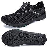 SAGUARO Zapatos De Malla Transpirable Deporte Agua De Mujer Zapatillas De Verano Outdoor Running Secado Rápido Surf Piscina Playa, Negro 41