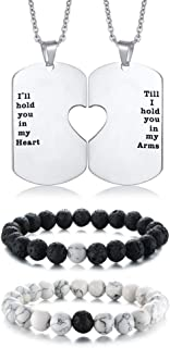 Stainless Steel Matching Puzzle Dog Tag Necklace&His and Hers Yin Yang Distance Beads Bracelet