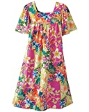 National Tropical Flowers Lounging Dress - Short-Sleeve Cotton Floral Lounger, Pink Floral, Large