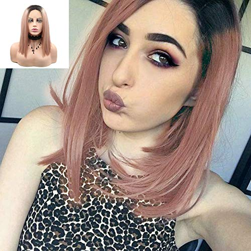 Pink Short Bob Wigs for Women Gold Lace Front Wigs Natural Hairline Rose Blonde Short Hair Straight Synthetic Lace Wig with Baby Hair Glueless Heat Resistant Pink Daily Cosplay Party Wigs 14inch