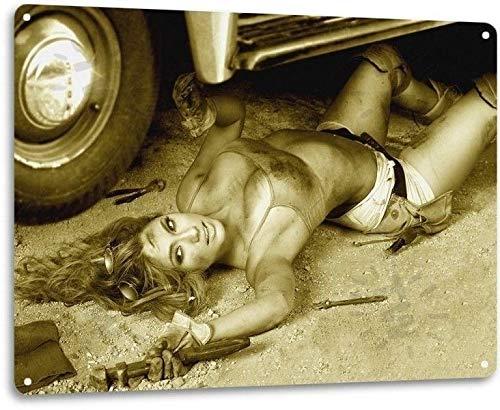 Wrench Pinup Girl Sexy Hot Rod Car Garage Auto Shop Man Cave Decor Metal Tin Sign TIN Sign 7.8X11.8 INCH