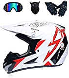 LEENY Casco de Motocross Set, Cross Casco de Moto Off-Road Sport Racing Downhill Enduro Dirt Bike Casco de MTB BMX ATV Cross-Country Cascos de Motocicleta para Hombres Mujeres,S(52~53cm)