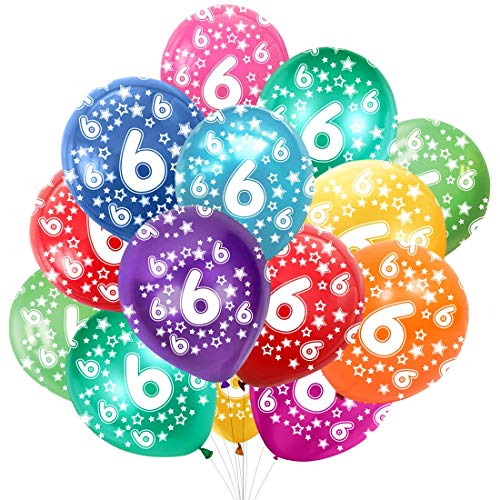 Globo Número 6, Cumpleaños Globos 6 Años, 6 Cumpleaños Decoración Globos Niño,Colores Globos Numeros 6 Fiesta Decoración para Feliz Cumpleaños,30 cm-Paquete de 30