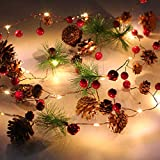 WOMIR Garland with Lights, Christmas Led String Lights Christmas Bell Pine Needle Pine Cone Xmas Wreath Tree garland-2m-6.8ft /20 Led