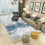 La alfombras alfombras de Dormitorio Azul Amarillo Gris Simple Tinta Pintura al óleo Estilo de la Sala de Estar Alfombra Alfombra Pelo Corto alfombras para Comedor 120*170cm