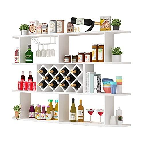 Estante para Vino de Mesa, Simple, Creativo, montado en la Pared, Estante para Vino, Hierro Forjado, Estante para Vino con múltiples Botellas, Adecuado para Bar/Sala de Estar/Restaurante/cafete
