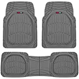 Motor Trend 923-GR Gray FlexTough Contour Liners-Deep Dish Heavy Duty Rubber Floor Mats for Car SUV Truck & Van-All Weather Protection, Universal Trim to Fit