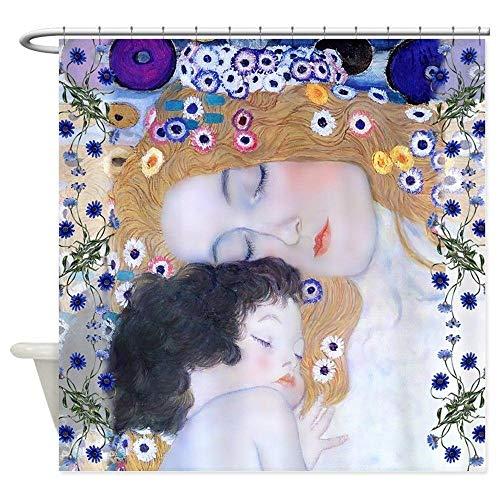 kuanmais Cortina de Ducha Gustav Klimt Cortina de Ducha para Madre e Hijo Moho Cortina de baño Extra Larga Impermeable para baño con 12 Ganchos 180x200cm